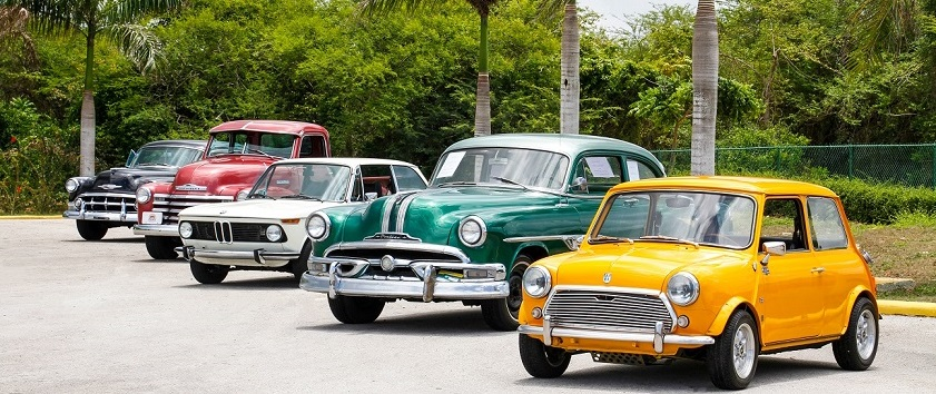 A stock photo of a group of vintage cars