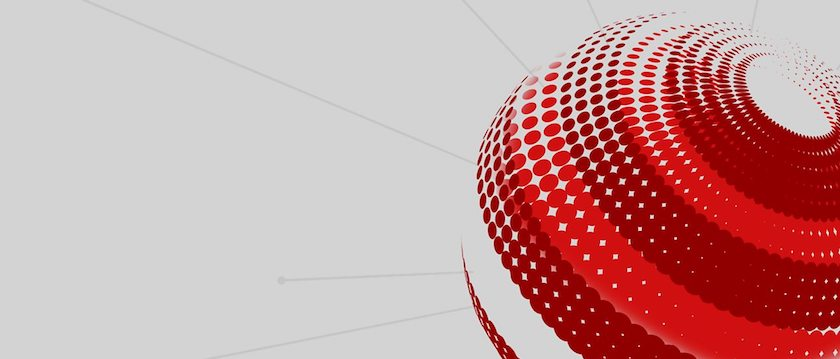 A white and red graphic with a globe to the bottom right.