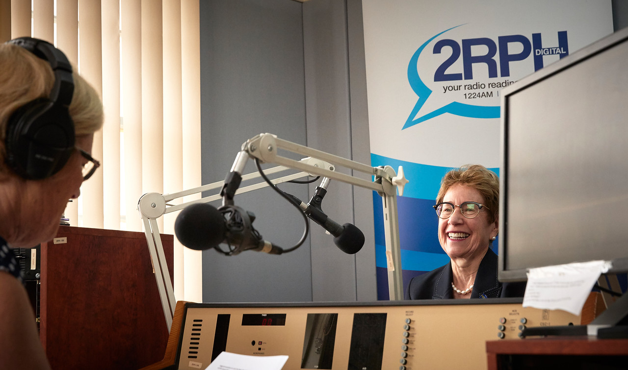 A photo of the new Governor of NSW in the studio with a woman