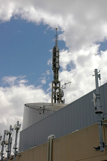 photo of transmitter mast against sky