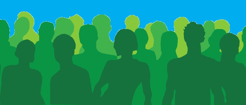 green people in silhouette against blue sky