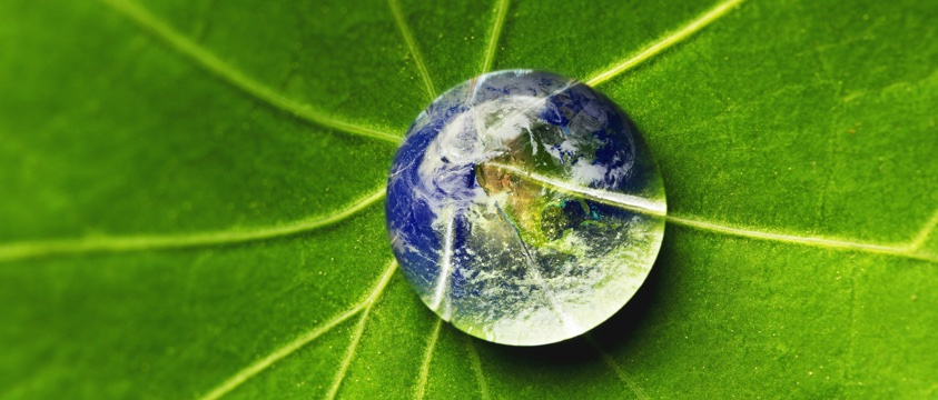 planet earth as spherical water droplet on green leaf