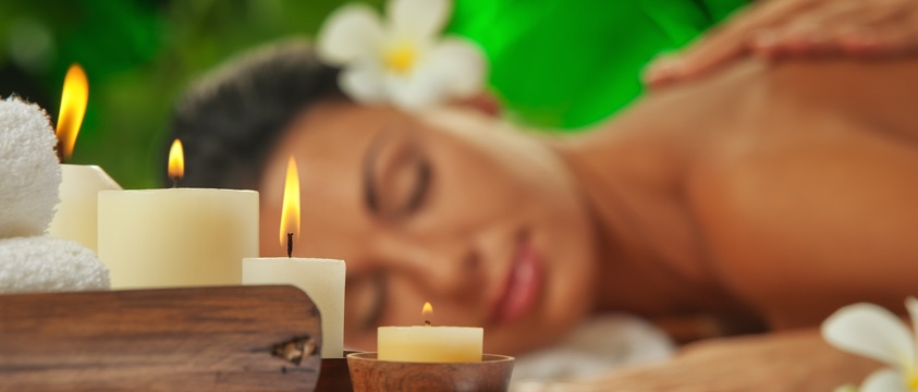 woman relaxed, massage, candles