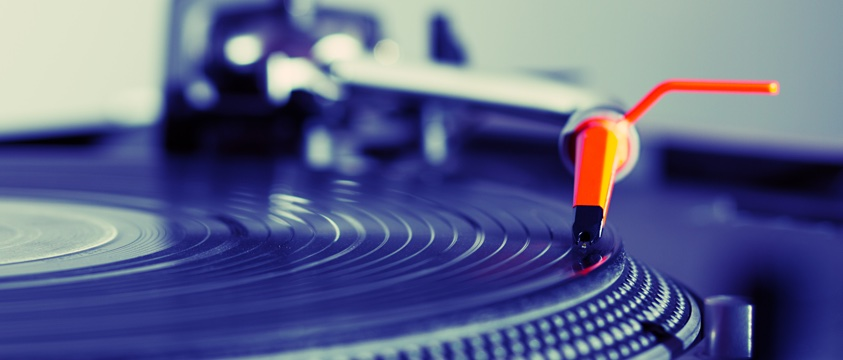 stylus on vinyl record on turntable