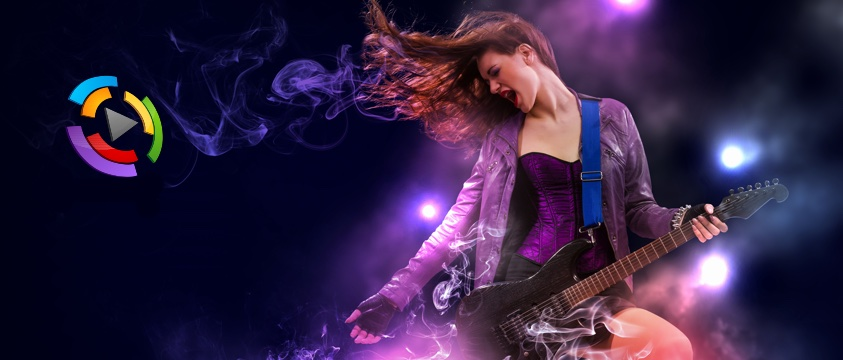 girl plays wild guitar, play logo on left