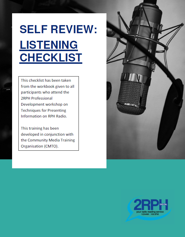 A screen shot of the 2RPH Self Review Listening Checklist