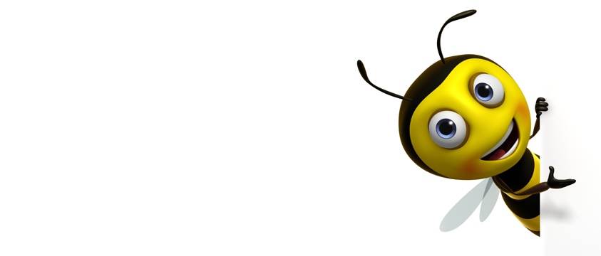 cartoon bee with big grin gestures warmly